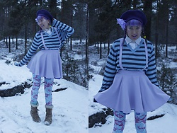 Lindwormmm - Black Milk Clothing Goldfish Leggings, Pastel Suspender Skirt, Striped Jumper, Hand Me Down White Dress Shirt, Thrifted Purple Beret - Are We Walking in the Air?