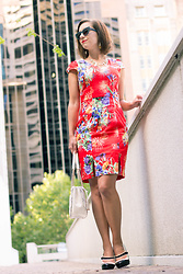 Lindsey Puls - Lilee Yamanto Dress, Machi Footwear Heels, Quay Sunglasses, Kate Spade Purse - Retrying Red