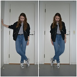 Mucha Lucha - Weekday Bomber, Weekday T Shirt, Cheap Monday Jeans, Missguided Sneakers - Curly hair (for a while)