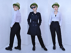 Suzi West - Kornett / Kutz Hats 1960s Vintage Hat, Ebay Wig, Greaserags Clothing Company Sunglasses, Suzi West Model Earrings, Meow Wolf Snaggy Lapel Pin, Only Trench Coat, Papaya Blouse, Forever 21 Crop Top, Laurèl Wool Trousers, Rocket Dog Sporty Dress Shoes - 09 December 2016