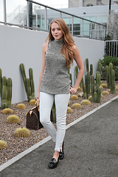 Natalie A - Target Loafers, Turtleneck Tank, Louis Vuitton Speedy Bag, Fidelity Denim - How to wear loafers