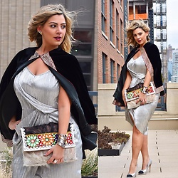 Jaclynn Brennan - Asos Tall Drape One Shoulder Metallic Plisse Dress, Jmd Velvet Cape, Jmd Embroidered Fur Clutch, Chanel Two Tone Pumps - India Calling