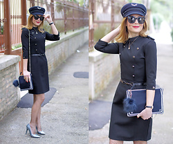 Vale ♥ - Dezzal Dress, Tommy Hilfiger Clutch, Tommy Hilfiger Military Hat - Military style with a feminine touch
