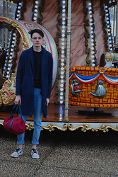 Julien GIRARD - Zara Blue Coat, H&M Blue Jumper, New Look Jean, Nike Sneakers, American Apparel Red Bag, Marc By Jacobs Glasses - Stripes & Cool