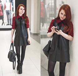 Anya Dryagina -  - Leather dress and shirt with bow
