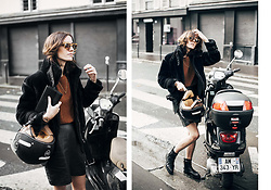 Laugh of Artist - Eleven Paris Coat, Vintage Skirt, Forever 21 Top, Minelli Boots, Triwa Glasses - Leather skirt