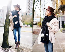 Aika Y - Sheinside Hooded Long Sleeve Loose Cardigan, Lack Of Color Boater Hat, Acne Studios Canada Wool Scarf, Hudson Jeans Supermodel Skinny, Faux Suede Fringed Booties, Zara Velvet Bag - Cozyy Layers
