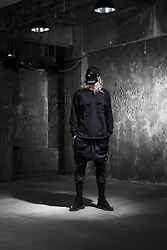 INWON LEE - Byther Wide Banding Baggy Pants, Byther Buckle Pocket Sweatshirts, Byther Pierced Ball Cap - All Black Fashion Streetwear