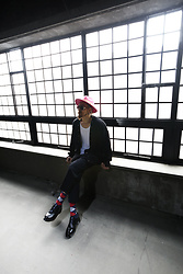 INWON LEE - Byther Vivid Color Fedora, Byther Studs Custom Cardigan, Byther Basic Derby Shoes - Modern Classic Urban Outfit