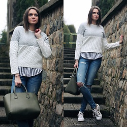 Audrey - Gamiss Sweater, Stradivarius Shirt, Gina Tricot Skinny, Primark Bag, Adidas Sneakers - How I wear the crop sweater
