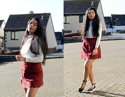 Mariel Parton - Primark White Jumper, H&M Scallop Edge Burgundy Skirt, Bank Mary Jane Flatform Shoes - Valentines in Burgundy