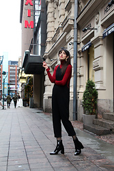 Paz Halabi Rodriguez - Zara Golden Earrings, Zara Red Turtle Neck, Zara Black Jumpsuit, Calzedonia Net Tights, Mango Patent Leather Heeled Boots - Red is always a good idea