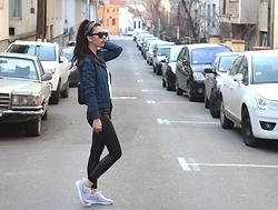 Jelena - Bershka Bomber Jacket, Sammydress Leather Pants, Le Specs Black Sunglasses, Nike Flyknit Sneakers - Something old and blue