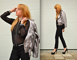 Martina Manolcheva - Zaful Jacket, Zara Bomber, Zara Pants, Michel Plovdiv Shoes, Choker - Sheer & Metallics