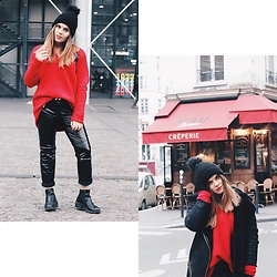 Mariana Galhardas - Zara Sweater, Zara Patent Leather, Primark Pom Pom, Stradivarius Jacket - My dear Paris