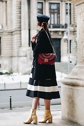 Andreea Birsan - Red Shoulder Bag, Double Breasted Military Coat, Military Cap, Striped Midi Skirt, Gold Metallic Ankle Boots - Valentine's Day outfit idea with a twist II
