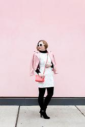 Ashley Hutchinson - Zara White Constellation Star Print Dress, Black Tights, Aquatalia Black Suede Booties, L.K. Bennett Coral Crossbody Bag, Zara Pink Leather Moto Jacket, Céline White Sunglasses - Constellation Print Dress