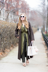 Ashley Hutchinson - Oscar De La Renta Brown Wool Coat, Khaki Trench Vest, Forever 21 Green Jumpsuit, Zara Nude Bow Flats, H&M Blush Pink Tote Bag, Asos Pink Fur Pom, Céline White Sunglasses - Trench Vest Layers