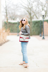 Ashley Hutchinson - Hinge Gray Quilted Leather Jacket, Gucci Dionysus Bag, Asos Mom Jeans, Zara Bow Leather Flats, Céline White Sunglasses - Pink Floyd Band Shirt