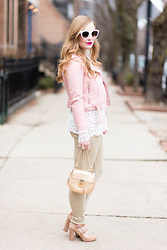 Ashley Hutchinson - Zara Pink Cropped Moto Jacket, Chloé Gold Leather Crossbody Bag, Zara Green Skinny Jeans, Steve Madden Multi Buckle Block Heels, Sheinside Lace Tunic Blouse, Céline White Sunglasses - Feminine Moto Jacket