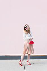 Ashley Hutchinson - Sheinside White Lace Blouse, T&J Designs Red Lips Clutch, Zara Pink Pleated Skirt, Gianvito Rossi Red Suede Pumps, Céline White Sunglasses - Lace and Pleats