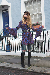 Alexe Bec - I'm With The Band Headband, Free People Dress, Topshop Skinny, Vintage Boots - A very purple afternoon.