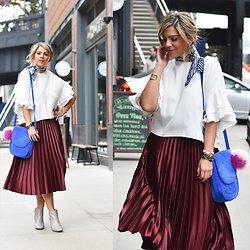 Jaclynn Brennan - Zara Pleated Midi Skirt, Zara Boxy Frilled Top, Neely & Chloe Blue Suede Bag, Doni Charm Striped Scarf, Zara Leather Ankle Boots - Proper Pleating