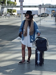 Tiffany Wang - Soludos Sandals, Aritzia Dress, Zara Denim Jacket, Brixton Hat, Lo & Sons Bag - AIRPORT READY
