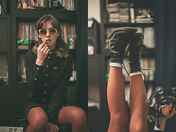 Stu Allotropia - Fred Perry Black Parka Shirt Dress, Dr. Martens Boots, Koton Ivory Sunglasses - Friday Allnighter