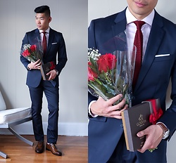 Leo Chan - Perry Ellis Navy Suit, Allen Edmonds Dress Shoes - Valentine's Day Outfit