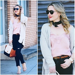 Zia Domic - H&M Pink Camisole, Vince Black Denim, Gucci Brown Belt - Pink Lace, Cropped Jeans