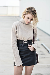 Madelene McGuinness - Interval Boxy Knit, Vintage Leather Skirt, Bardot Corset Belt - BOXY PROPORTIONS