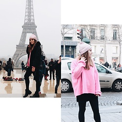 Mariana Galhardas - Zara Sweater, Brandy Melville Usa Skiry, Stradivarius Jacket, Zara Beanie - Pink in Paris