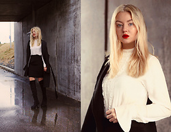 Elin Hansson - Make Up Store Red Lipstick, Old Skirt, Vintage Blose - Red lips for Valentine's day