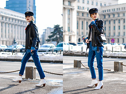 Andreea Birsan - White Ankle Boots, Two Tone Step Hem Mom Jeans, Denim Shirt, Biker Leather Jacket, Striped Top, Military Cap, Silk Scarf, Black Leather Mini Crossbody Bag - Casual everyday look