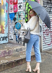 Dani Mikaela McGowan - Vintage Levis, Asos Nude Booties, Topshop White Faux Fur Coat, Gray Handbag - New York Fashion Week: Boy Bye
