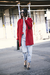 URBAN CREATIVI-TEA - Chanel Sunglasses, Century21 Coat, Calvin Klein Jeans, Saint Laurent Heels, Chanel Bag - Red&Black&Jeans / urbancreativi-tea