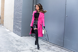 Jessi Malay - Topshop Pink Fluro Coat, Zara Patent Skirt, Tony Bianco Over The Knee Boots, Topshop Lace Up Blouse, Saint Laurent College Satchel Bag - PINK, Patent, + Lace for Valentine's Day!