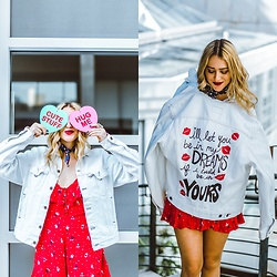 Ashley Prybycien - Urban Outfitters Red Romper, Live Wyld Be In My Dreams Hand Painted Jacket - GALENTINES DAY