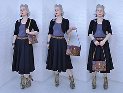 "Suzi West - Rocket Studio Art Abstract Earrings, Erst Wilder ""The Bear Essentials"" Suitcase Brooch, Mossimo Bolero, Forever 21 Basic Top, Thrift Store Braided Rope Vintage Belt, Circle Skirt, Vincent Van Gogh Print Purse, Plato's Closet Tapestry Floral Lita Boots - 28 December 2016"