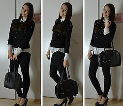 Jimena Palermo - Zara Sweater, H&M Blouse, Tally Weijl Jeans, Guess Bag, Jumex Heels - Black and White