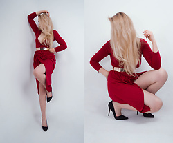 Milady Sandy - Asos Burgundy Dress, Asos Aq Metal Belt, Club L Metal Choker, New Look Classic Heels - Valentine's look.