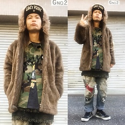 @KiD - Obey Suicidal Tendencies Cap, Beams Fake Fur Parka, Obey Bad Brains Tee, Used Camouflage Jackets, Lee Self Remake Jeans, Vans Circle Jerks Sneaker - Japanese Trash105