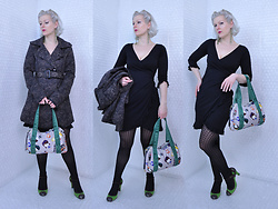 Suzi West - Holly Gordon's Pro Wardrobe Earrings, Thrift Store Paisley Trench Coat, La Belle Little Black Dress, Merona Tights, Harajuku Lovers Purse, Marc By Jacobs Heels - 05 January 2017