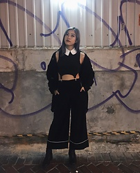 Meilun Yan - Monki Silky Black Pants, Deandri White Collar Black Top With Clips - SATANIC