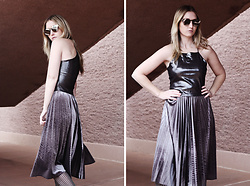 Erica Davidge - Zaful Accordion Pleat Velvet Skirt, Zaful Butterfly Shaped Mirrored Sunglasses, Missguided Metallic Crop Top - Space Case
