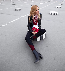 Silver Girl - Levis White T Shirt, Gucci Red Leather Bag, Asos Silk Scarf, Asos Leather Jacket, Topshop Sport Leggings - REBEL AT PALAIS ROYAL