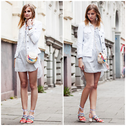 Ruth Pie - Diy Tassel Bag, Sheinside Rainbow Sandals, Tommy Hilfiger Denim Jacket - Rainbow Tassels