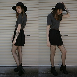 Kelsi Goodwin - American Apparel Circle Skirt, Thrifted Hat, American Apparel T Shirt, Ardene Fishnets, H&M Boots - Cattoos