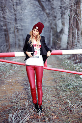 Adriana M. - New Yorker Red Faux Leather Pants, New Yorker Black Jacket, New Yorker Classic Beanie, Adidas Wedged Sneakers - Still winter up here...